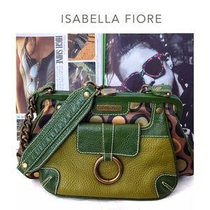 ISABELLA FIOR Vintage Green Leather Polka Dot Bag